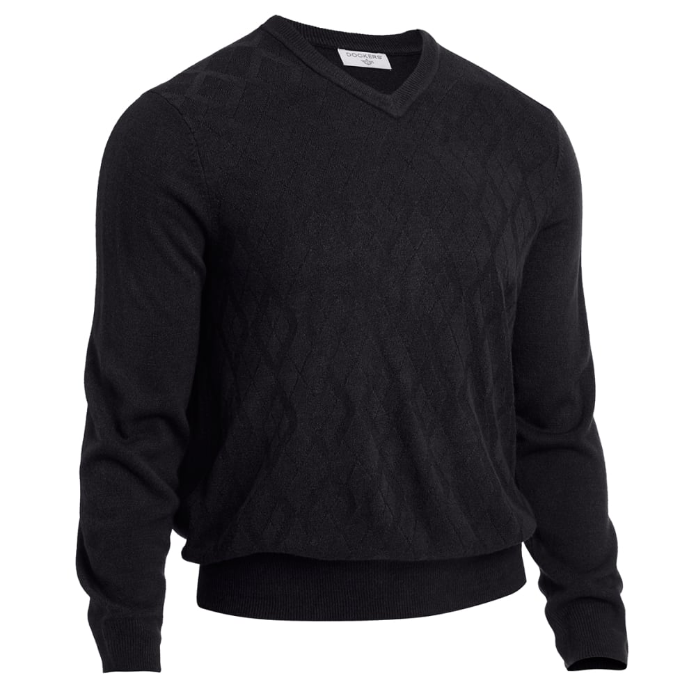 DOCKERS Men's Solid V-neck Sweater - BLACK