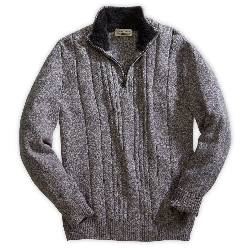 RUGGED TRAILS Men's 1/4-Zip Twisted Top with A Sherpa Collar - GREY HOUNDSTOOTH