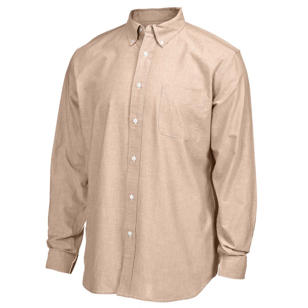 NATURAL BASIX Men's Solid Oxford Long-Sleeve Shirt - MAPLE
