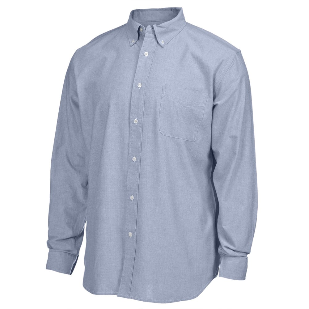 NATURAL BASIX Men's Solid Oxford Long-Sleeve Shirt - CADET BLUE