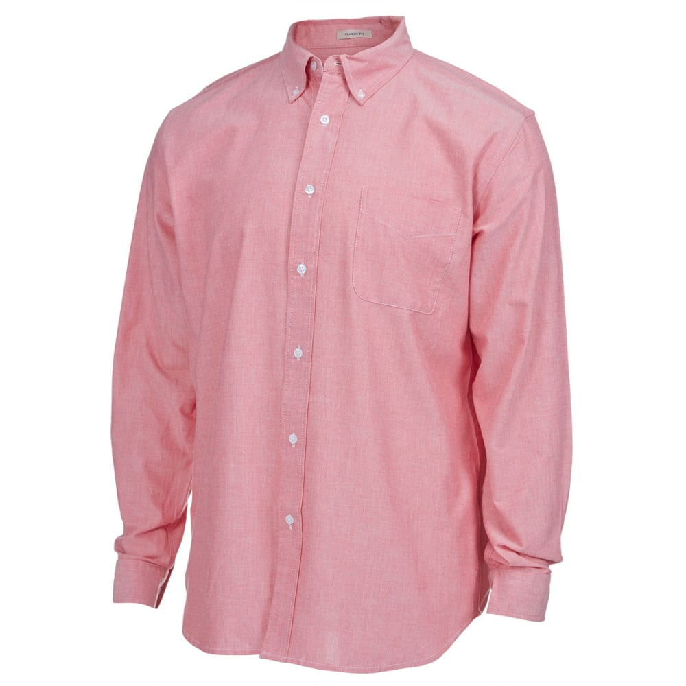 NATURAL BASIX Men's Solid Oxford Long-Sleeve Shirt - CHILI PEPPER