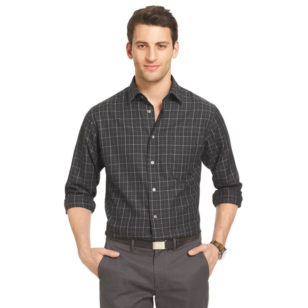 VAN HEUSEN Men's Big & Tall Windowpane Plaid Woven - BLACK