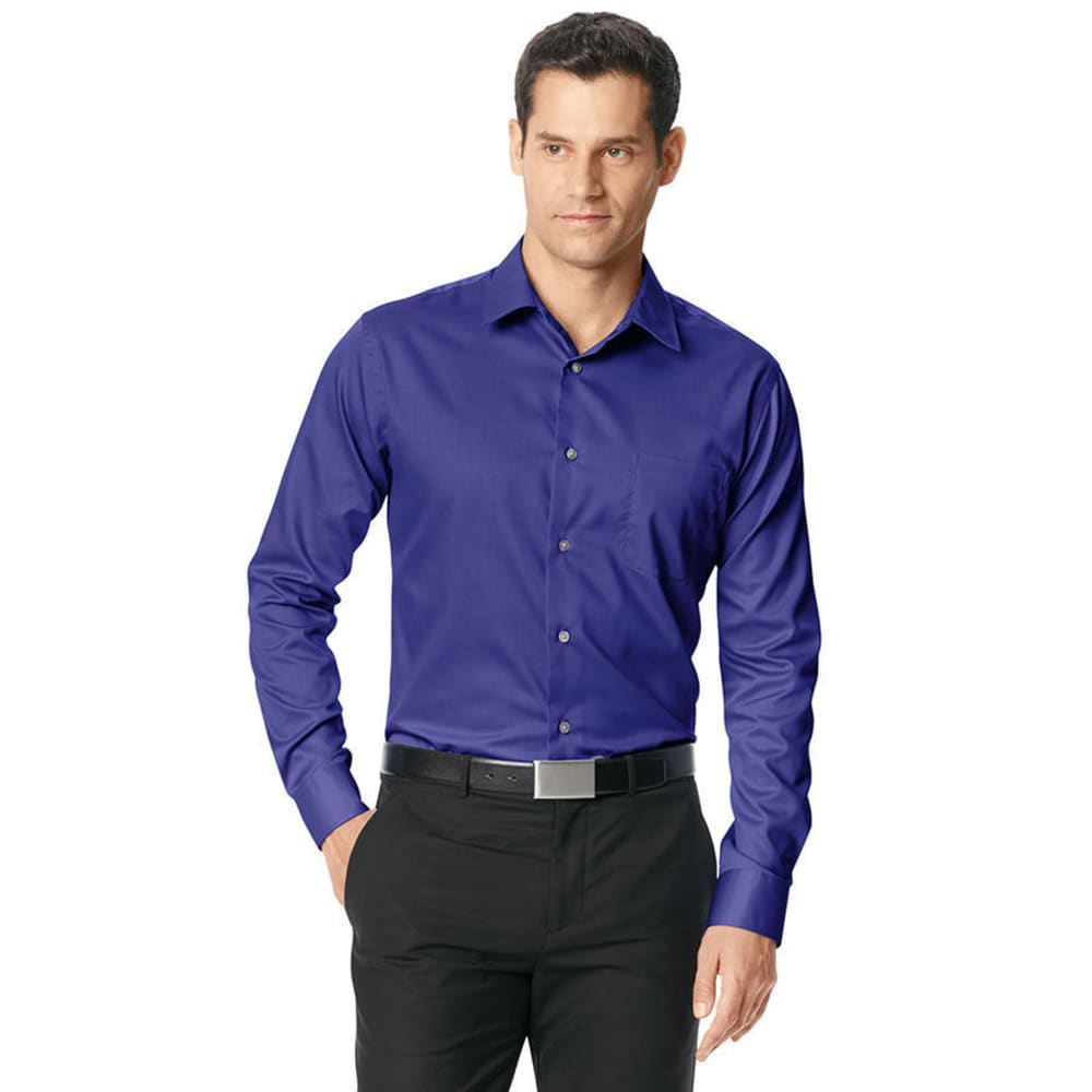 VAN HEUSEN Men's Big and Tall Sateen No-Iron Casual Button-Down Shirt - BLUE AMPARO