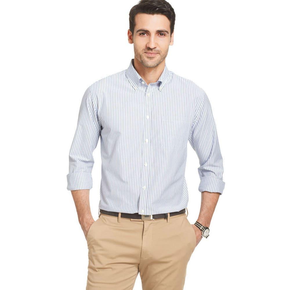VAN HEUSEN Men's Big and Tall Traveler Striped Performance Shirt - BLUE STRIPE