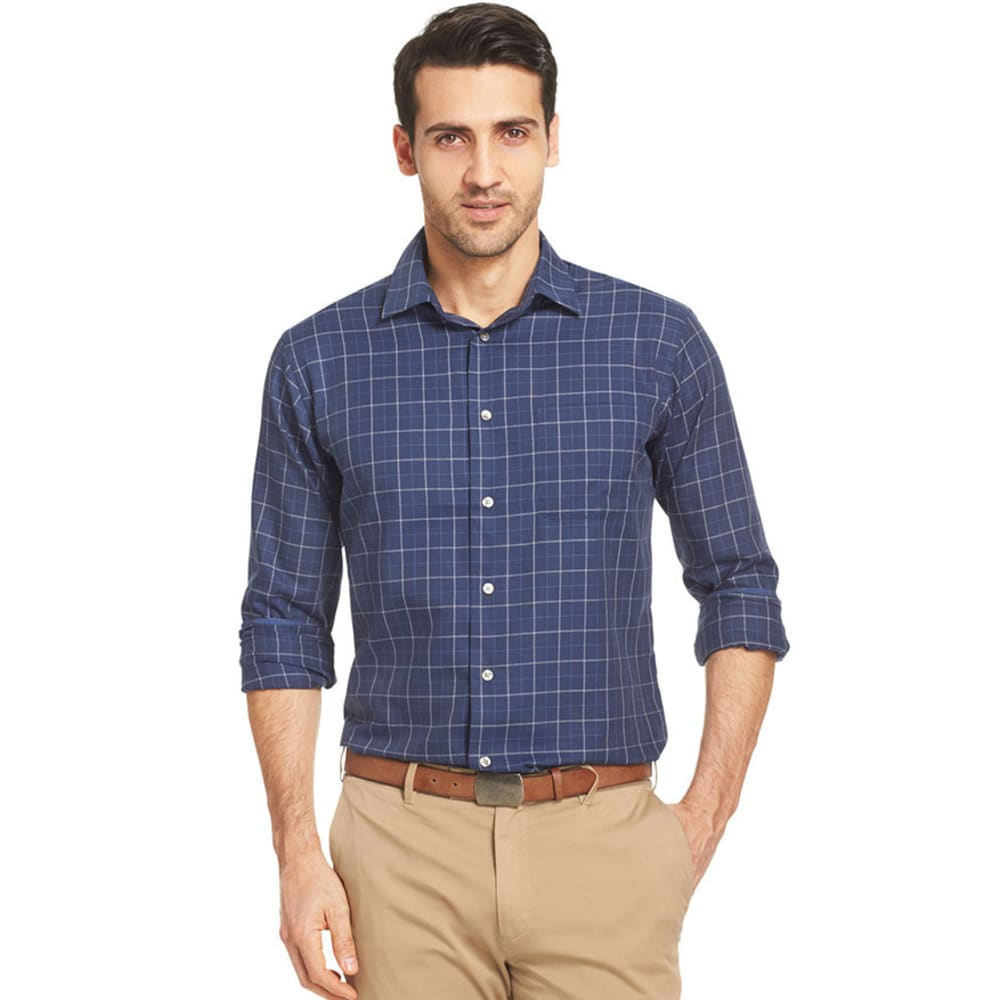 VAN HEUSEN Men's No Iron Long Sleeve Shirt - BLUE/BLACK