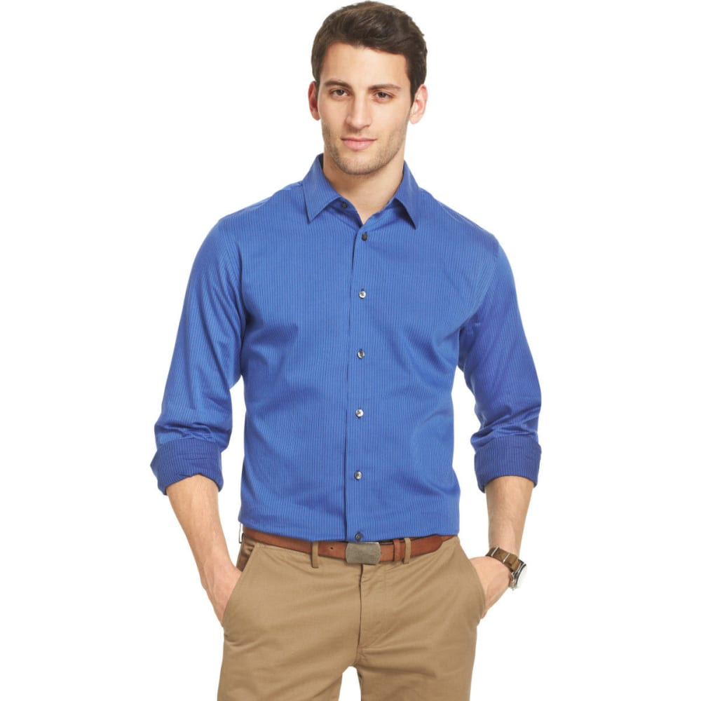 VAN HEUSEN Men's Satin Stripe Long Sleeve Button-Down Shirt XL
