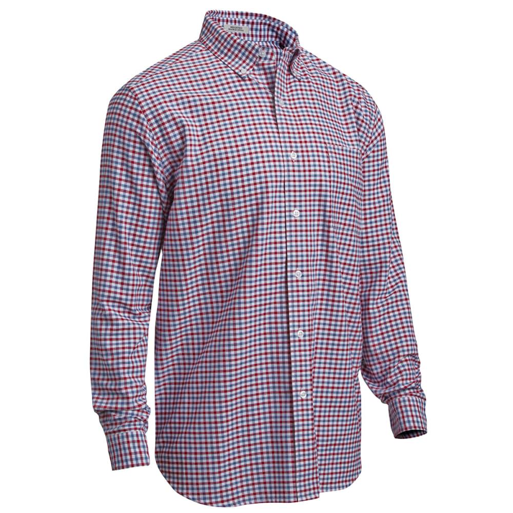 NATURAL BASIX Men's Long Sleeve Stripe Oxford Shirt - CHK BER/BLU
