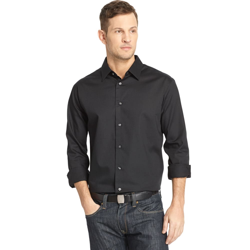 VAN HEUSEN Men's Long Sleeve Shirt - BLACK