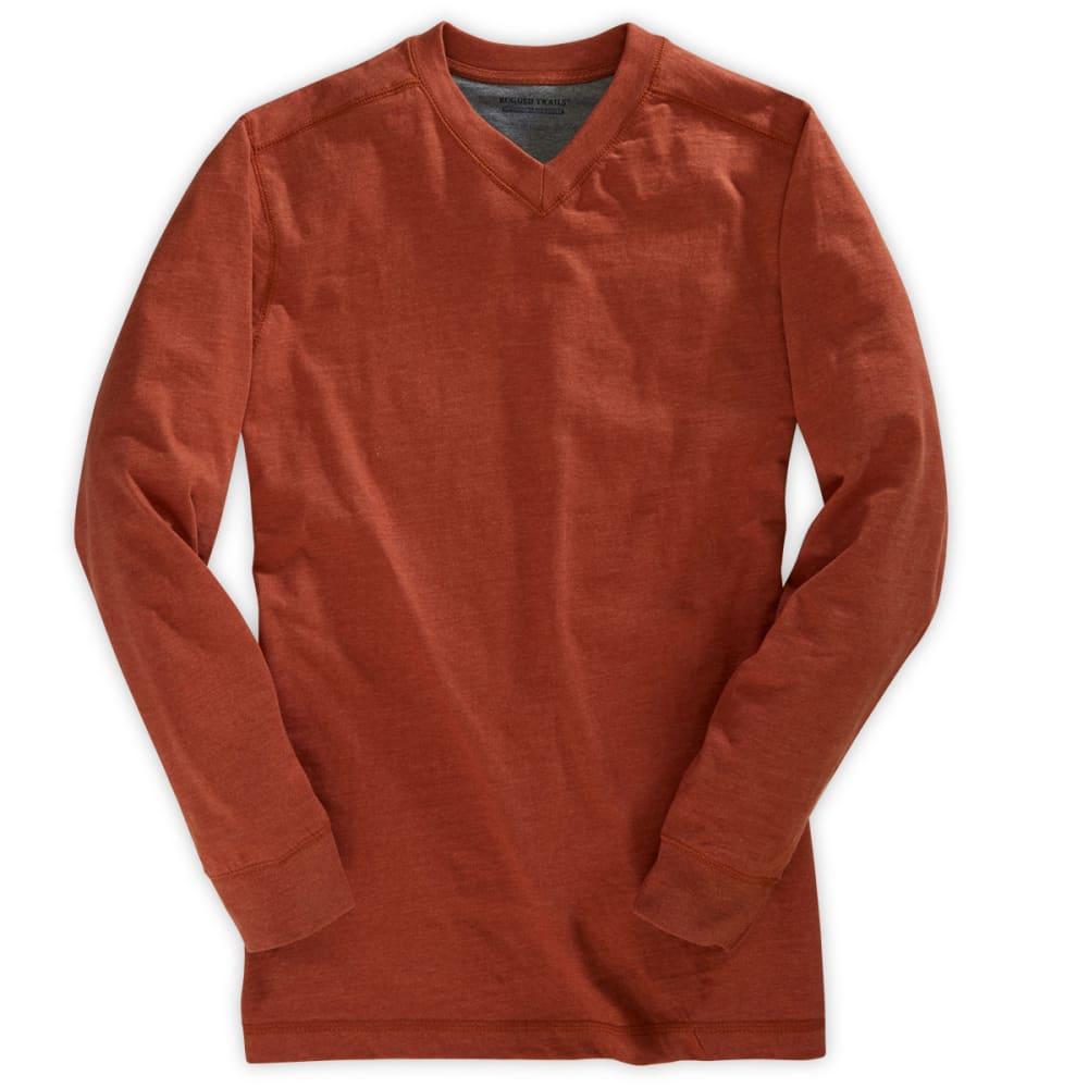 RUGGED TRAILS Men's Sueded V-Neck Shirt - SPICE HEATHER
