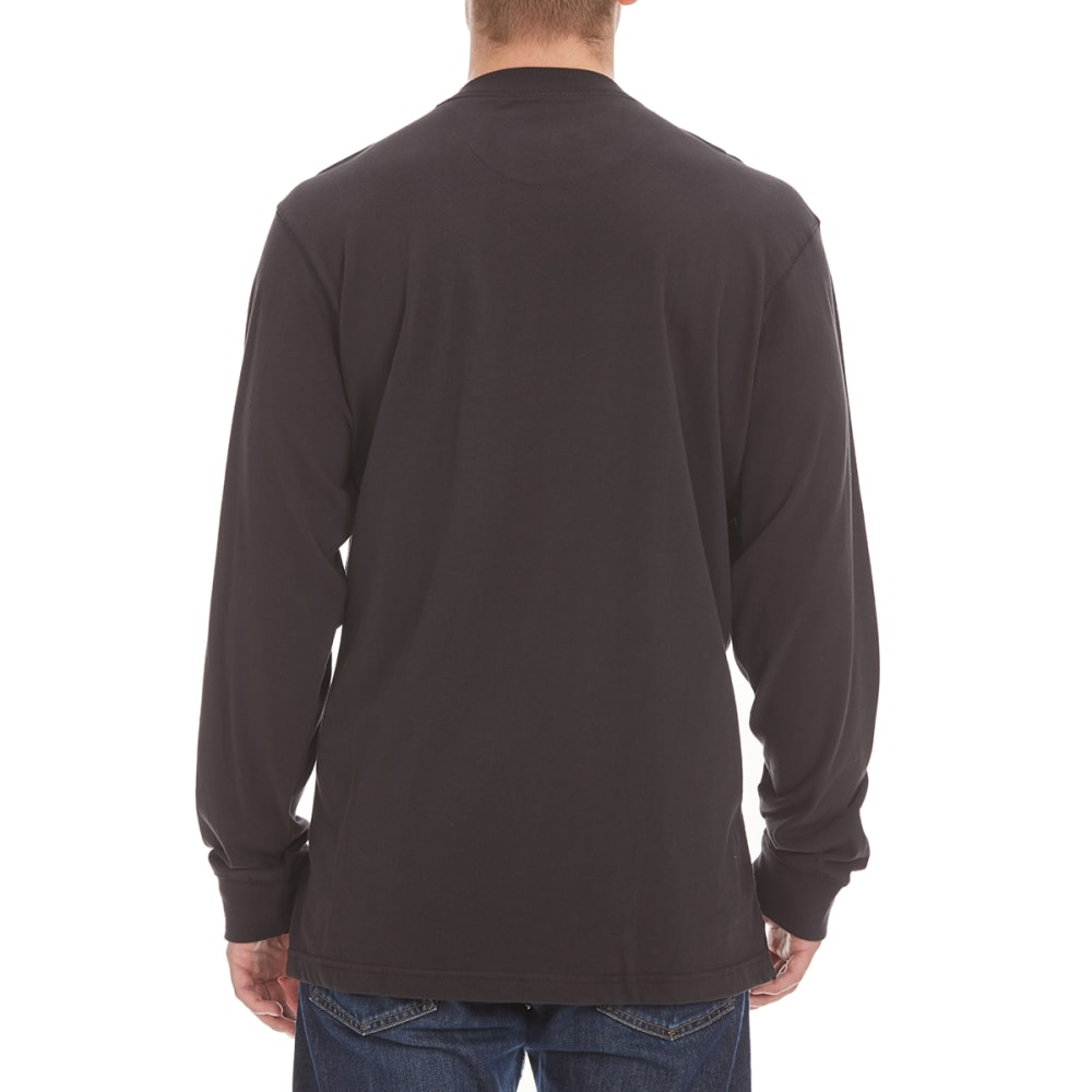 RUGGED TRAILS Men's Sueded Henley Shirt - BLACK/STEEL/TROPICAL