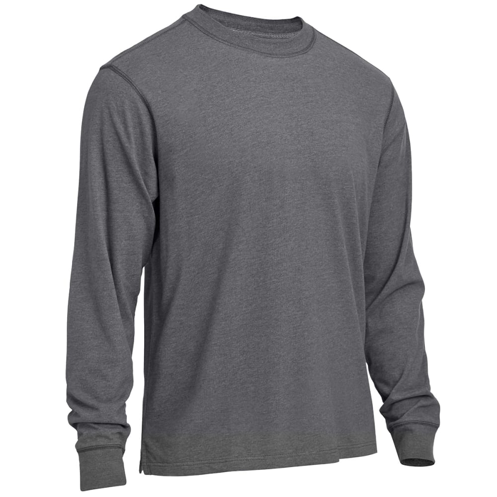 RUGGED TRAILS Men's Sueded Crew Shirt - CHARCOAL HEATHER