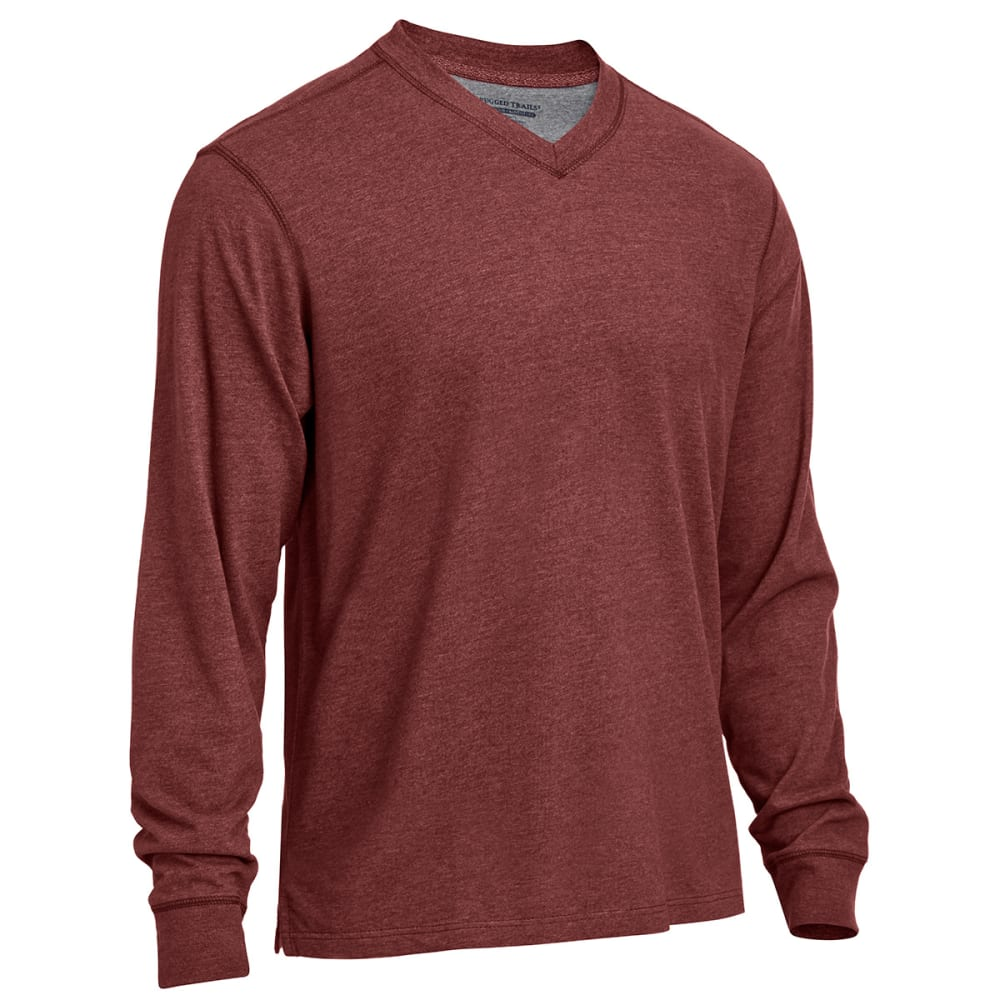 RUGGED TRAILS Men's Sueded V-Neck Shirt - PORT HEATHER