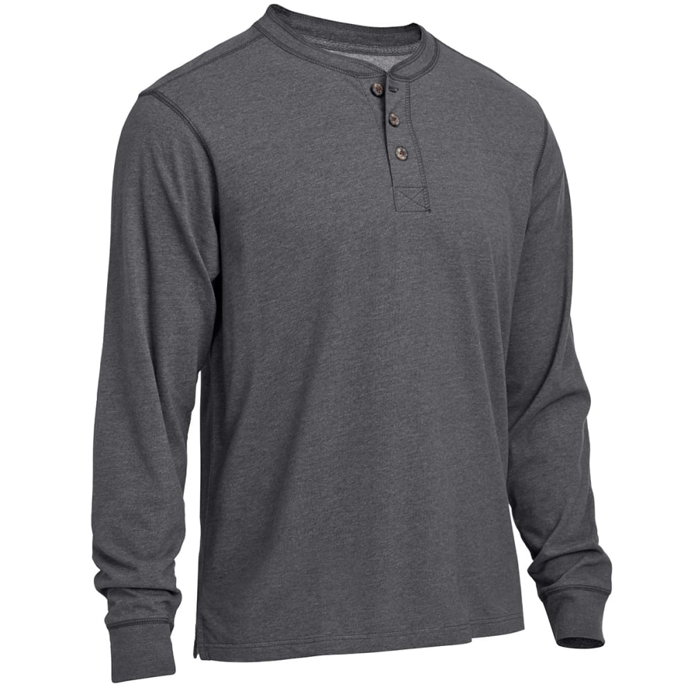RUGGED TRAILS Men's Sueded Henley Shirt - CHARCOAL HEATHER