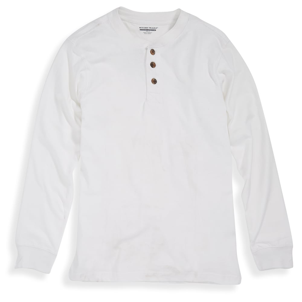 RUGGED TRAILS Men's Sueded Henley Shirt - WHITE