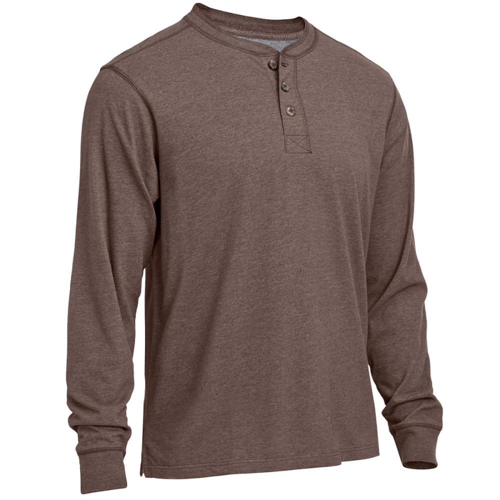 RUGGED TRAILS Men's Sueded Henley Shirt - BROWN HEATHER