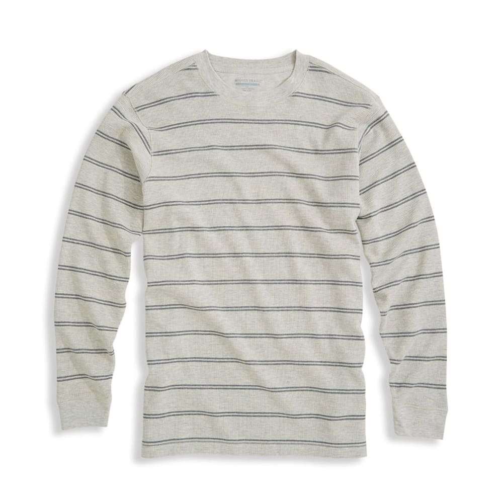 RUGGED TRAILS Men's Striped Thermal Crew -  - PEBBLE HEATHER