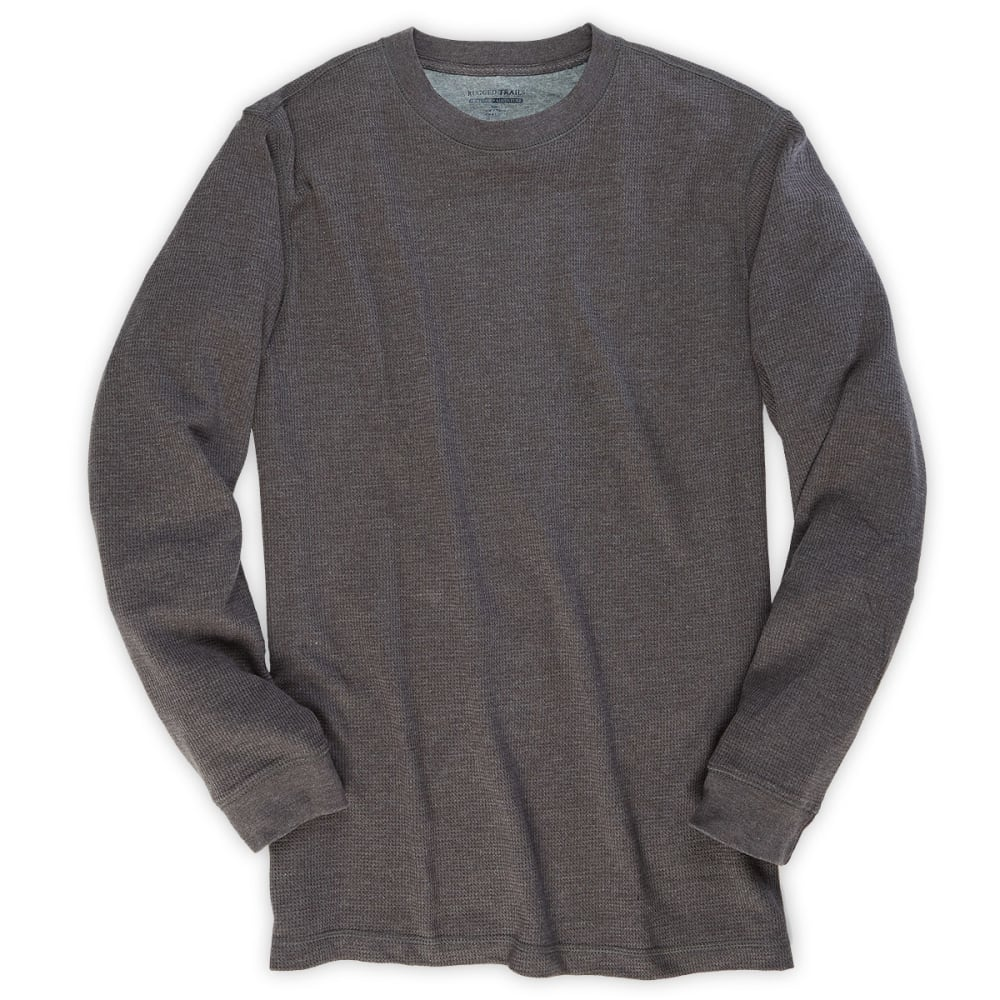 RUGGED TRAILS Men's Thermal Crew Neck Shirt - CHARCOAL HEATHER