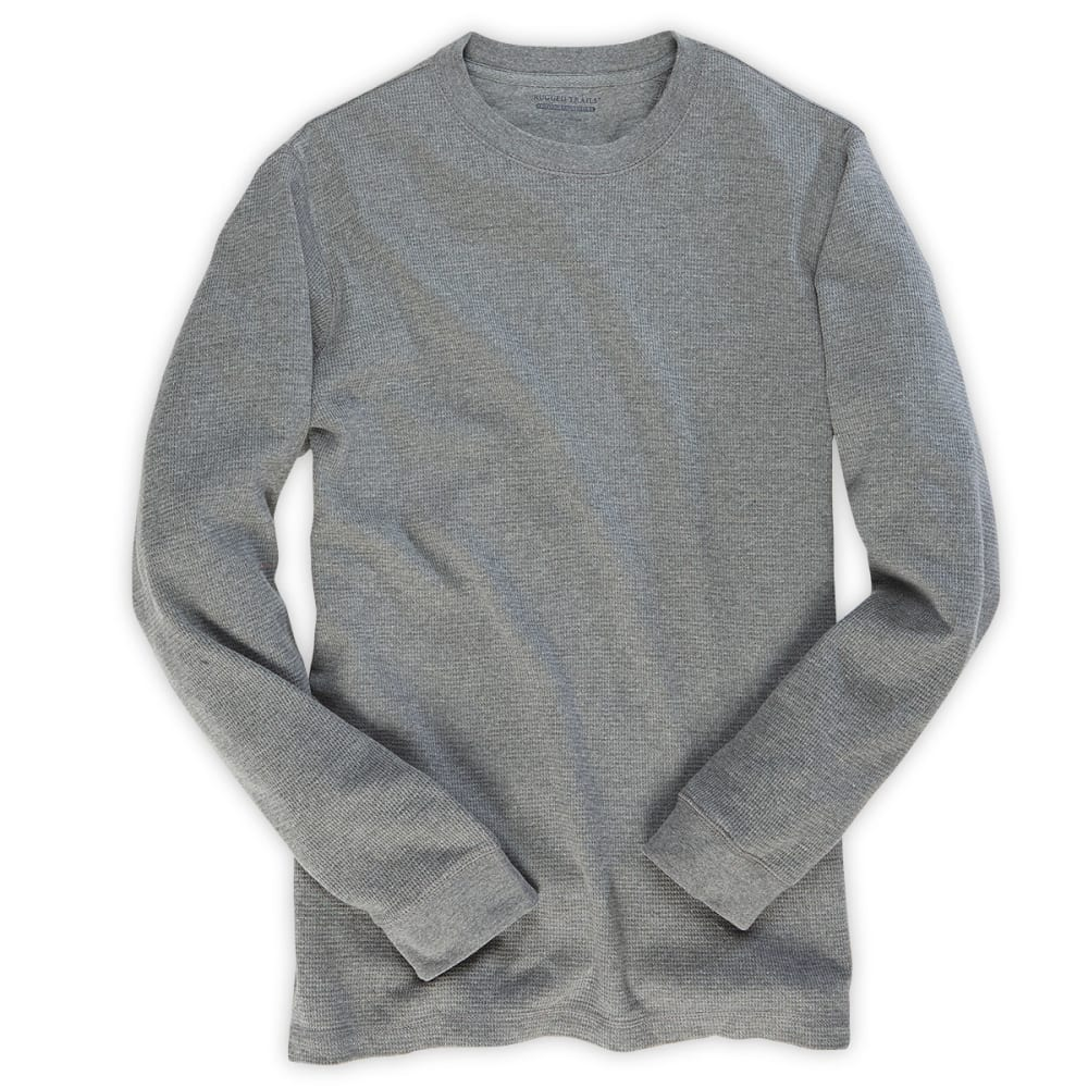 RUGGED TRAILS Men's Thermal Crew Neck Shirt - LIGHT GREY