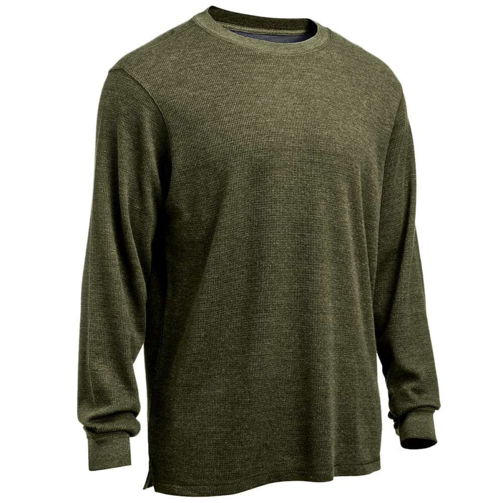 RUGGED TRAILS Men's Thermal Crew Neck Shirt - DARK GREEN HEATHER