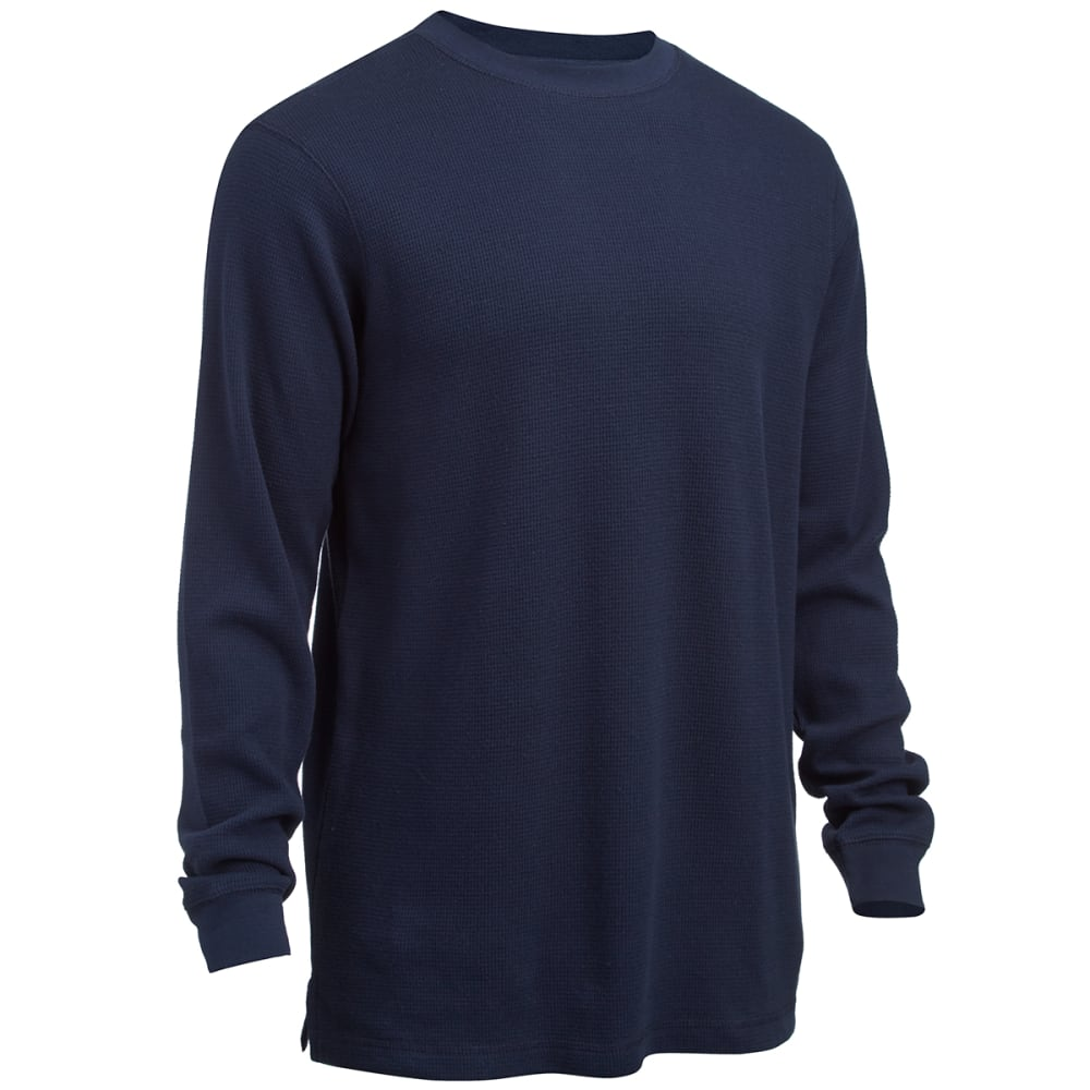 RUGGED TRAILS Men's Thermal Crew Neck Shirt - NAVY