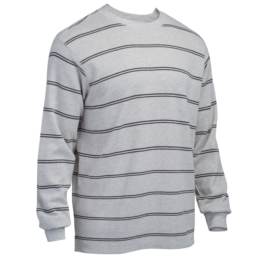 RUGGED TRAILS Men's Striped Thermal Crew Neck Shirt - PEBBLE HEATHER/CHARC