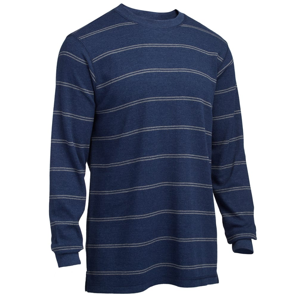 RUGGED TRAILS Men's Striped Thermal Crew Neck Shirt - IND HEATHER/LIGHT GR