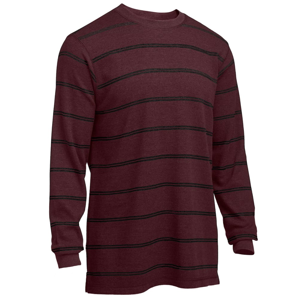 RUGGED TRAILS Men's Striped Thermal Crew Neck Shirt - PORT HEATHER/BLACK