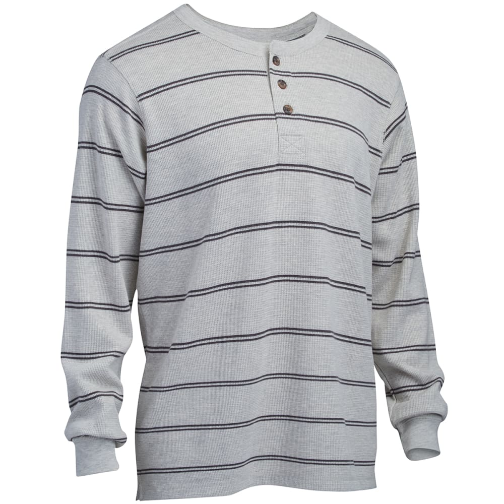 RUGGED TRAILS Men's Thermal Henley - PEBBLE HEATHER/CHARC