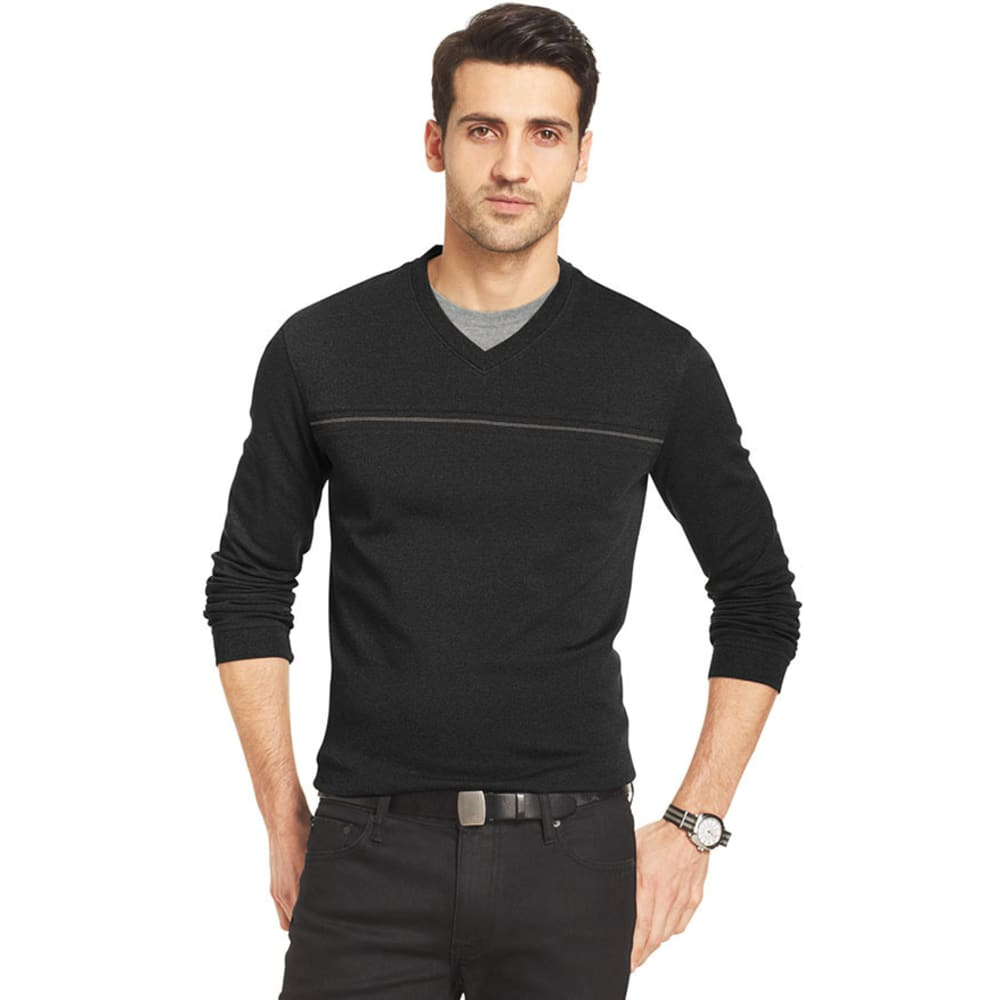 VAN HEUSEN Men's Big and Tall Jasper Knit Sweater - BLACK