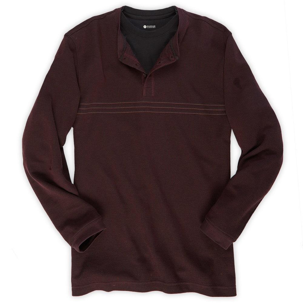 HAGGAR Men's Chest Striped Henley Shirt - WINE HEATHER