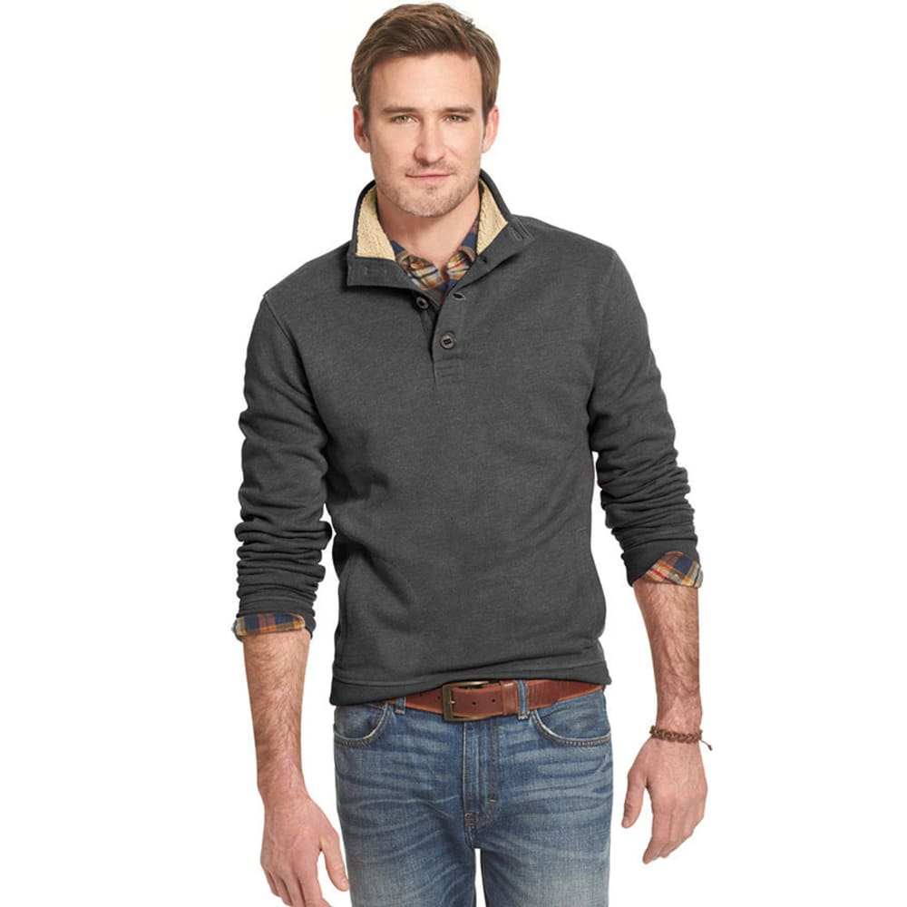 ARROW Men's Big and Tall Button Mock Neck Pullover - CARBON