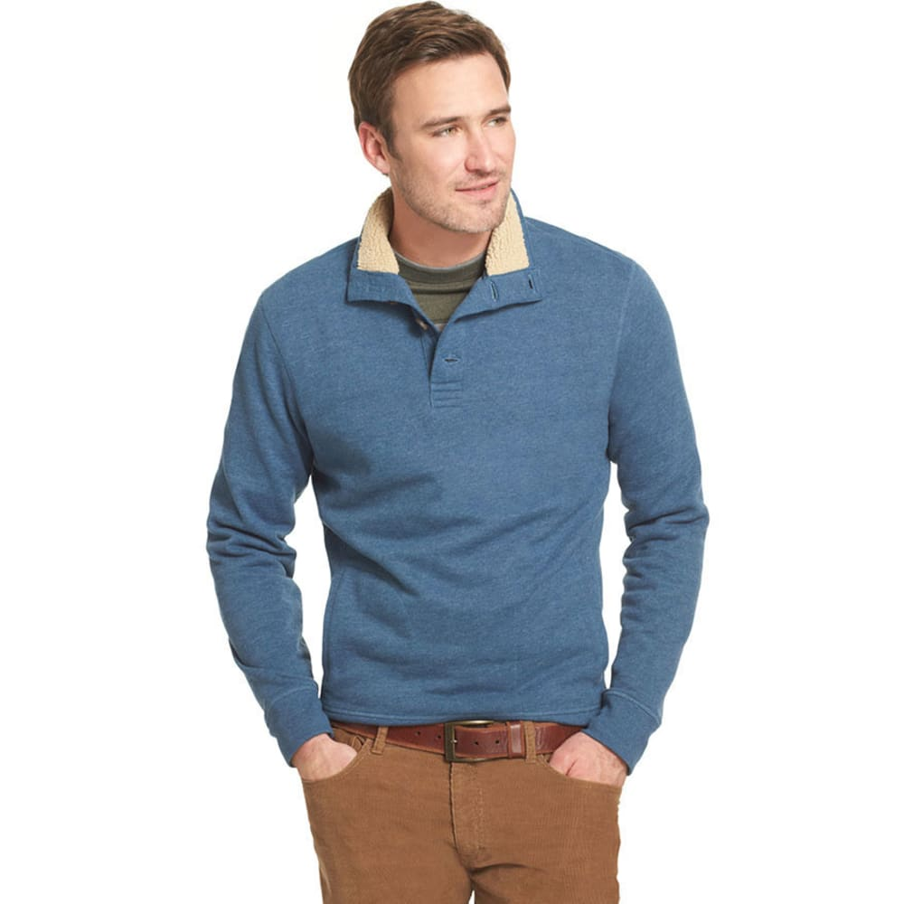 ARROW Men's Big and Tall Button Mock Neck Pullover - DENIM