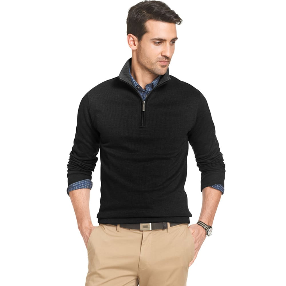VAN HEUSEN Men's Big and Tall French-Rib 1/4 Zip Pullover - BLACK