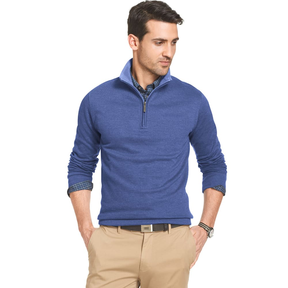 VAN HEUSEN Men's Big and Tall French-Rib 1/4 Zip Pullover - BLUE/BLACK