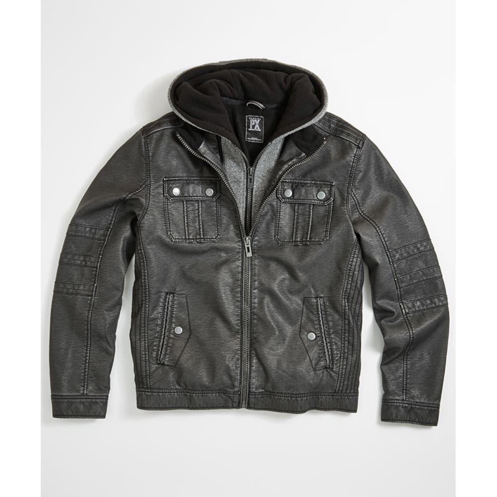 POINT ZERO Guys' Pleather Fleece Hoodie Jacket - GREY HEATHER BLACK
