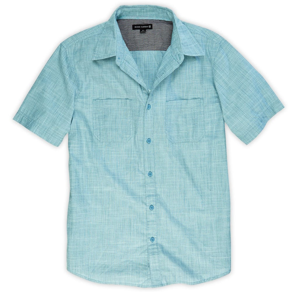 OCEAN CURRENT Guys' Kickturn Crosshatch Woven Shirt - LAGOON