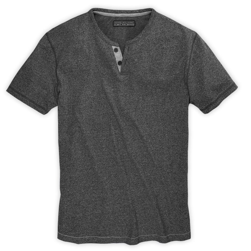 ALPHA BETA Guys' Marled Syrah Henley - CHARCOAL