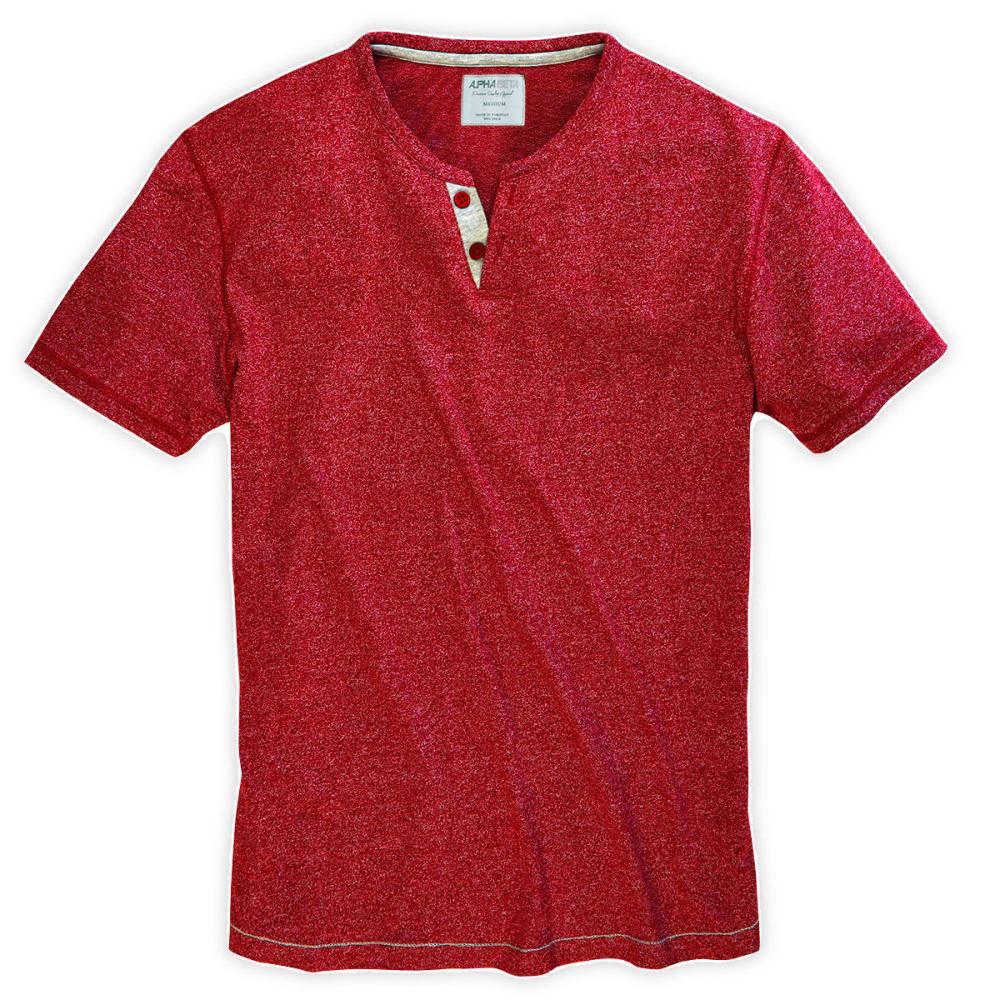ALPHA BETA Guys' Marled Syrah Henley - HAUTE RED
