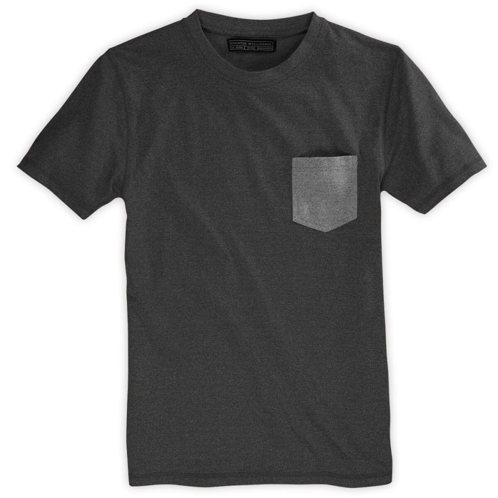 COUNTER INTELLIGENCE Guys' Contrast Crew Tee - CHARCOAL