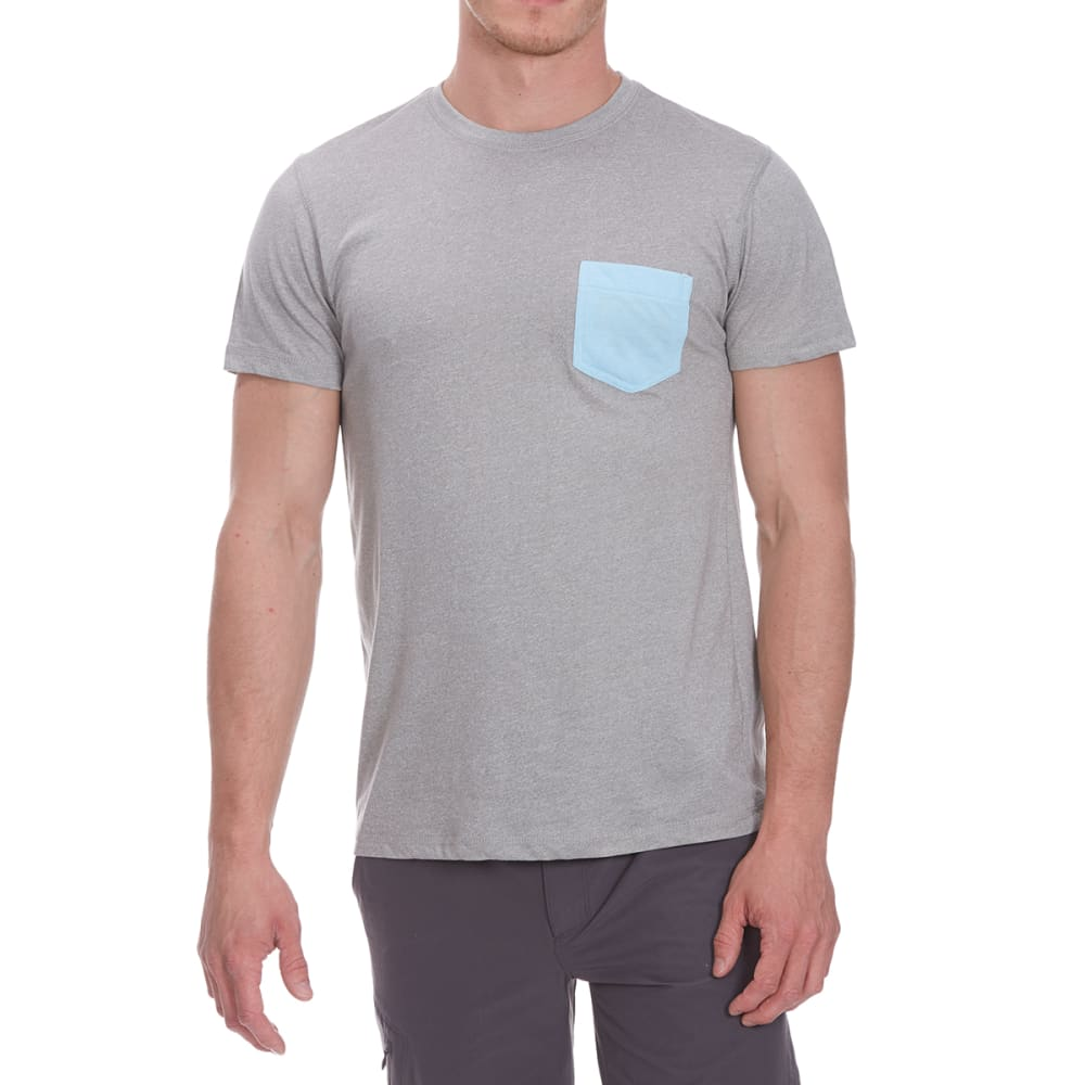 COUNTER INTELLIGENCE Guys' Contrast Crew Tee - GHOST GRY/SKY BLUE