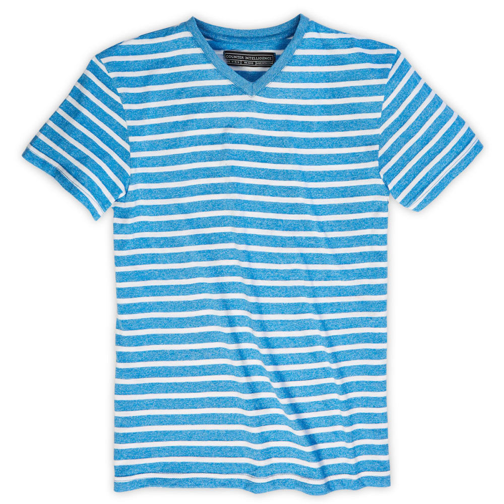 COUNTER INTELLIGENCE Guys' Marled Striped Knit Tee - SKY