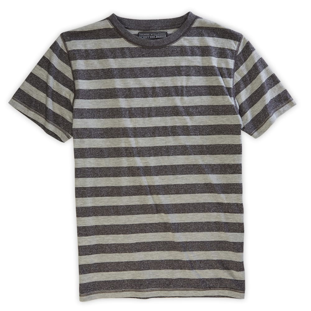 COUNTER INTELLIGENCE Guys' Striped Crew Tee - CHARCOAL
