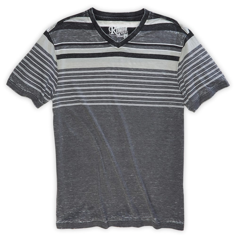 RETROFIT Guys' Striped V-Neck Tee - BLACK