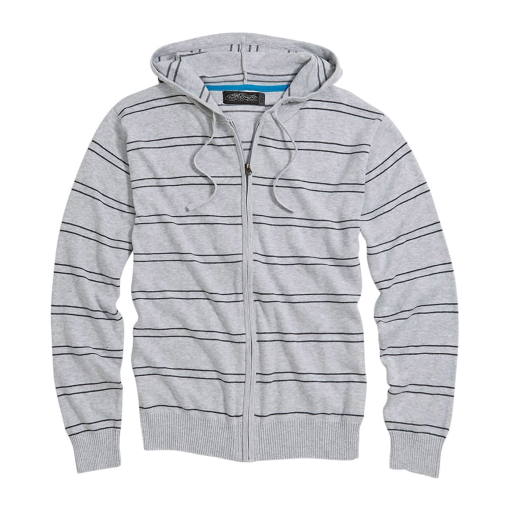 Retrofit Silver Heather Striped Full Zip Hoodie - SILVER HEATHER