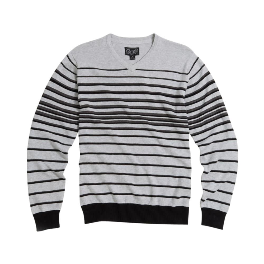 RETROFIT Young Men's Stripe V-Neck Sweater - SILVER HEATHER