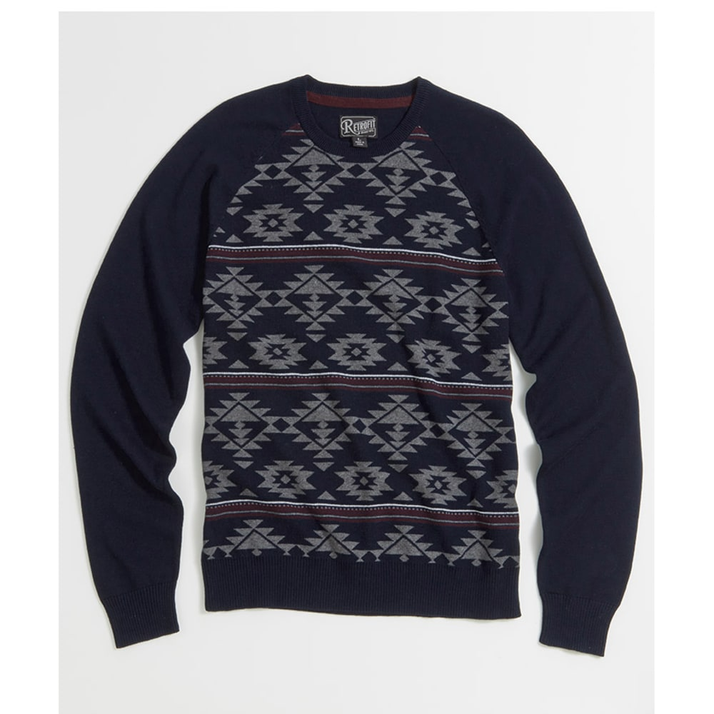 Retrofit Tribal Crew Sweater - DEEP NIGHT