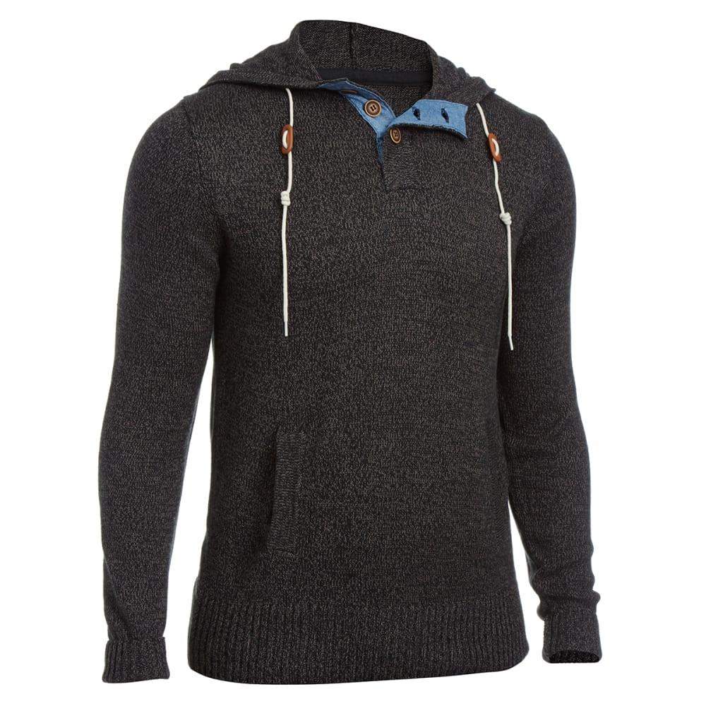 BURNSIDE Guys' Hooded Sweater - BLACK/SHOCK GREEN