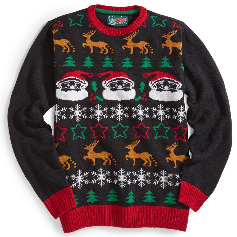 UGLY CHRISTMAS SWEATER Santa Sweater - BLACK/SHOCK GREEN