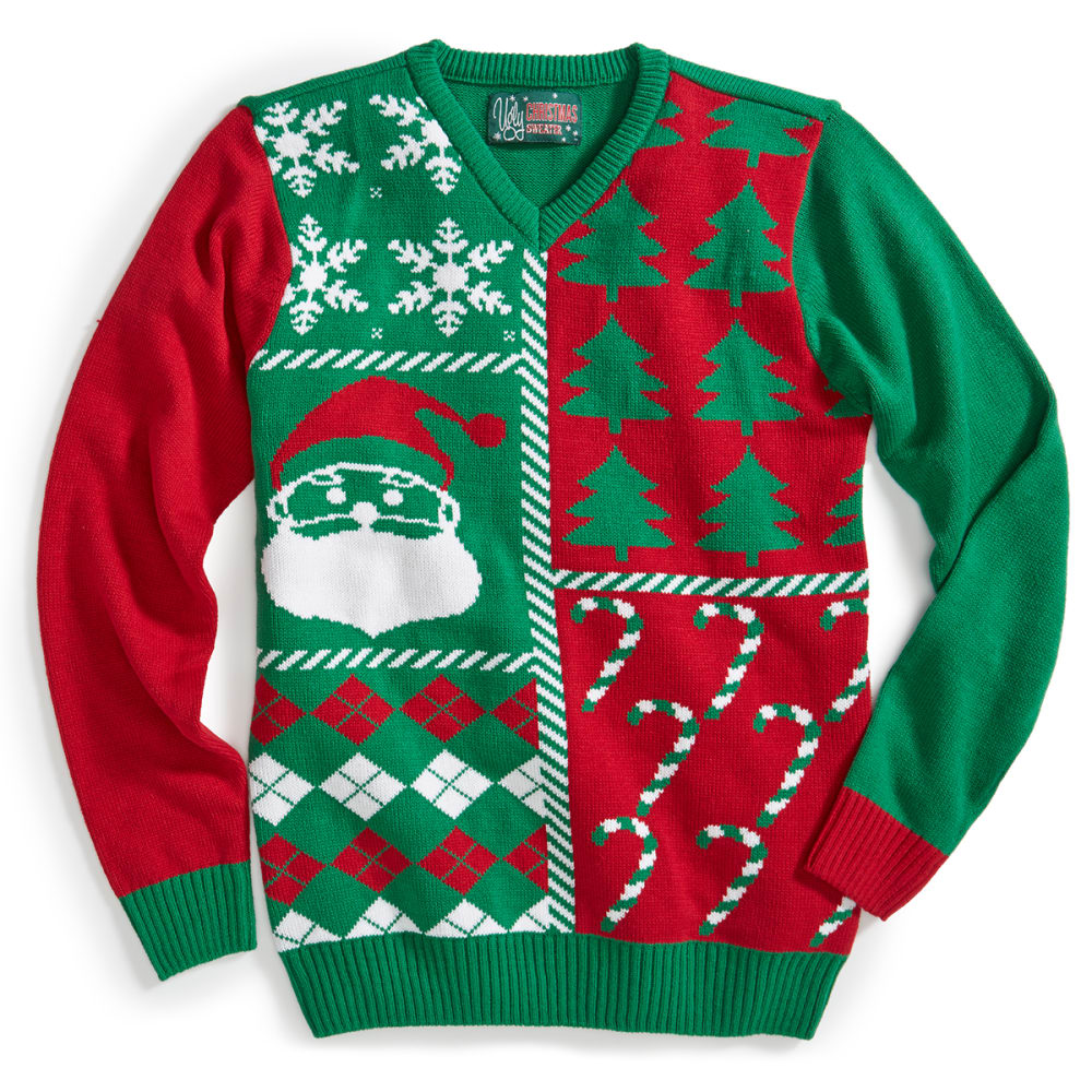 UGLY CHRISTMAS SWEATER Patchwork Sweater - COMBAT GREEN/BLACK