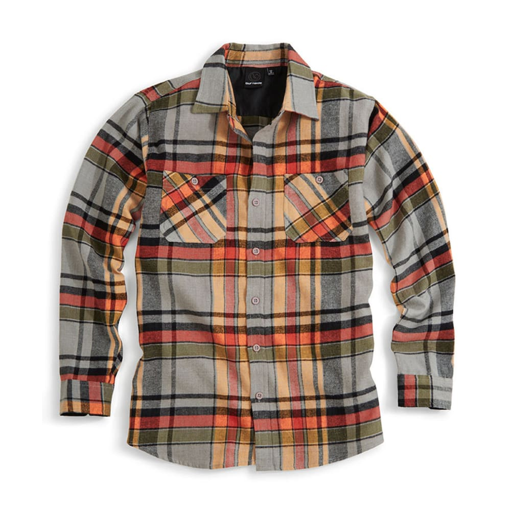 BURNSIDE Young Men's Dana Flannel Shirt - ORANGE